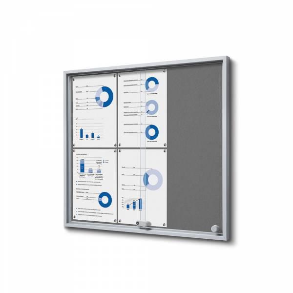 Grey Felt Noticeboard with sliding doors - SLIM (6xA4)