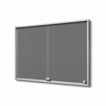 8xA4 GREY Felt Indoor Lockable Noticeboard with sliding doors SLIM