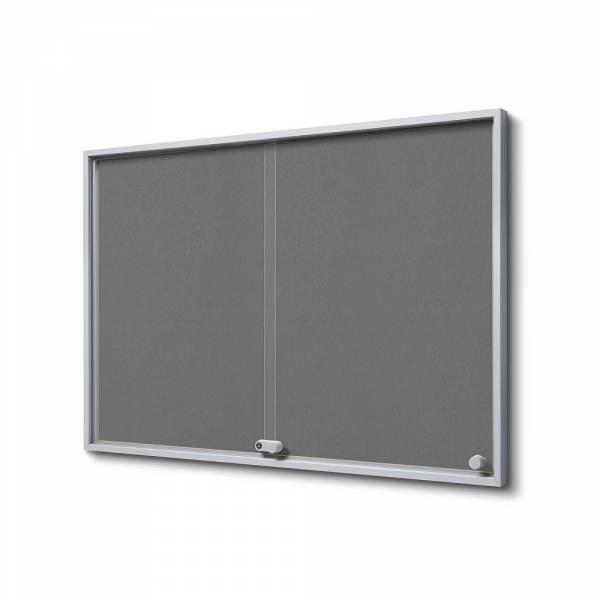 8xA4 GREY Felt Indoor Lockable Noticeboard with sliding doors SLIM