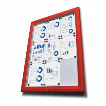 SCT Outdoor Coloured Notice Boards Red RAL3020 6xA4