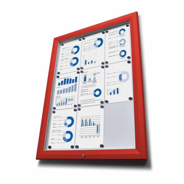 SCT Outdoor Coloured Notice Boards Red RAL3020 8xA4