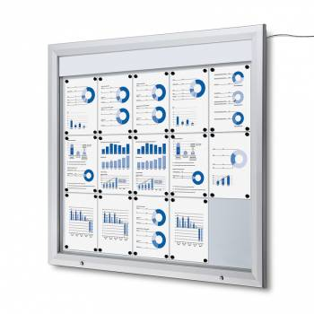 Lockable Notice Board 15xA4 LED