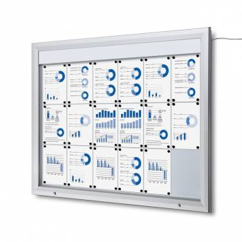 Lockable Notice Board 18xA4 LED