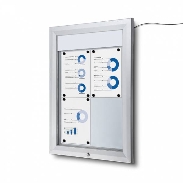 Outdoor LED Illuminated Noticeboard Dry Wipe, IP56 Certified