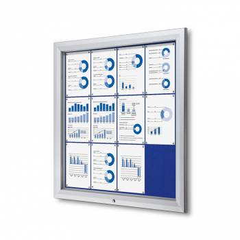 12xA4 BLUE Lockable Outdoor Felt Noticeboard
