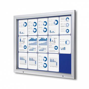 15xA4 BLUE Lockable Outdoor Felt Noticeboard