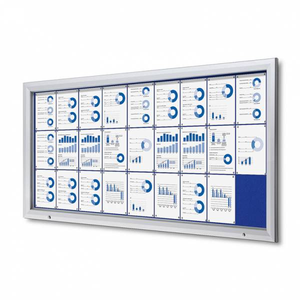 27xA4 BLUE Lockable Outdoor Felt Noticeboard