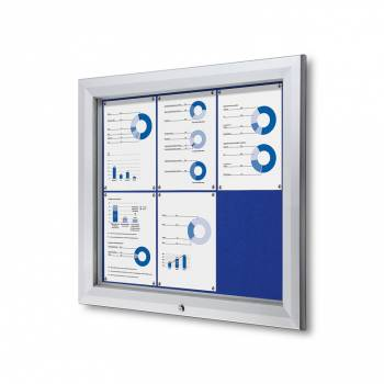 6xA4 BLUE Lockable Outdoor Felt Noticeboard