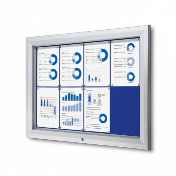 8xA4 BLUE Lockable Outdoor Felt Noticeboard