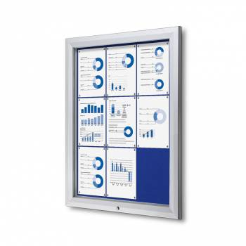 9xA4 BLUE Lockable Outdoor Felt Noticeboard