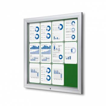 12xA4 GREEN Lockable Outdoor Felt Noticeboard