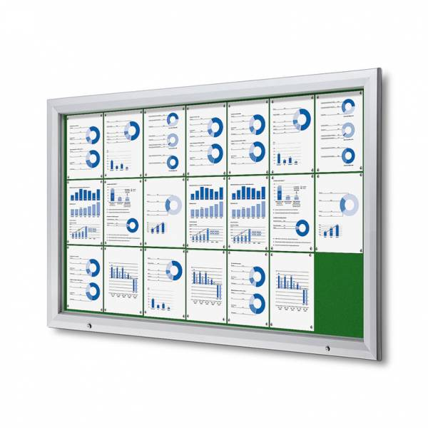 21xA4 GREEN Lockable Outdoor Felt Noticeboard