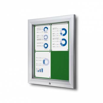 4xA4 GREEN Lockable Outdoor Felt Noticeboard