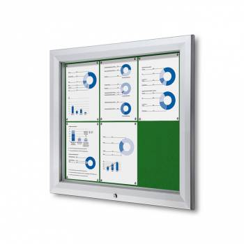 6xA4 GREEN Lockable Outdoor Felt Noticeboard