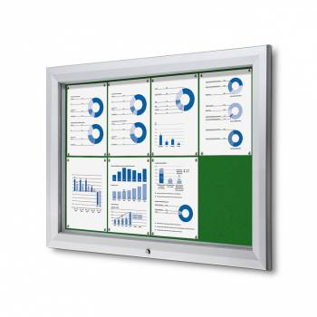 8xA4 GREEN Lockable Outdoor Felt Noticeboard