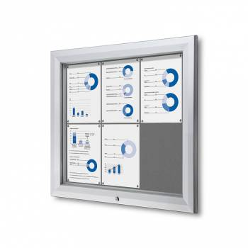 6xA4 GREY Lockable Outdoor Felt Noticeboard