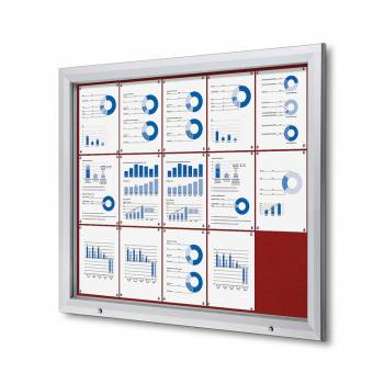 15xA4 RED Lockable Outdoor Felt Noticeboard