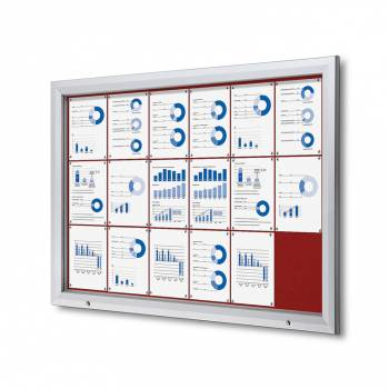 18xA4 RED Lockable Outdoor Felt Noticeboard