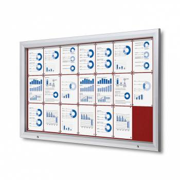 21xA4 RED Lockable Outdoor Felt Noticeboard
