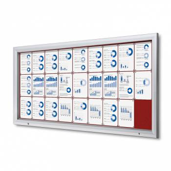 27xA4 RED Lockable Outdoor Felt Noticeboard