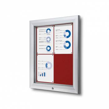 4xA4 RED Lockable Outdoor Felt Noticeboard