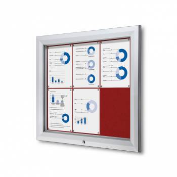 6xA4 RED Lockable Outdoor Felt Noticeboard