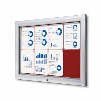 8xA4 RED Lockable Outdoor Felt Noticeboard