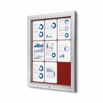 9xA4 RED Lockable Outdoor Felt Noticeboard