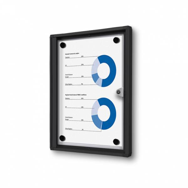 1xA4 Indoor Lockable Noticeboard Economy, black