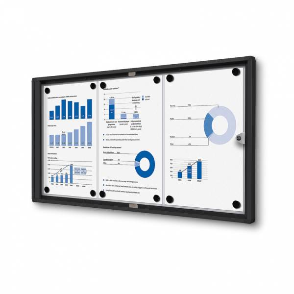 3xA4 Indoor Lockable Noticeboard Economy, black