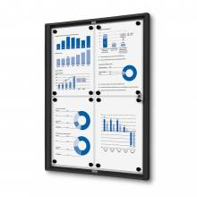 4xA4 Indoor Lockable Noticeboard Economy, black