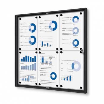 6xA4 Indoor Lockable Noticeboard Economy, black