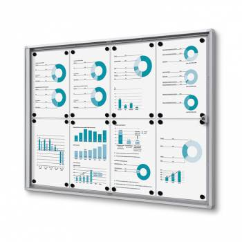 8xA4 Indoor Lockable Noticeboard Economy, Fire Rated