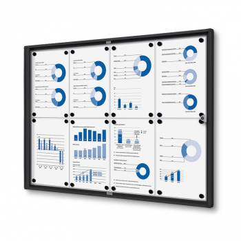 8xA4 Indoor Lockable Noticeboard Economy, black