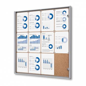 12xA4 Indoor Lockable Cork Noticeboard