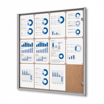 12xA4 Indoor Lockable Cork Noticeboard
