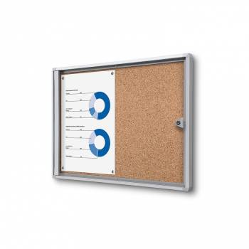2xA4 Indoor Lockable Cork Noticeboard