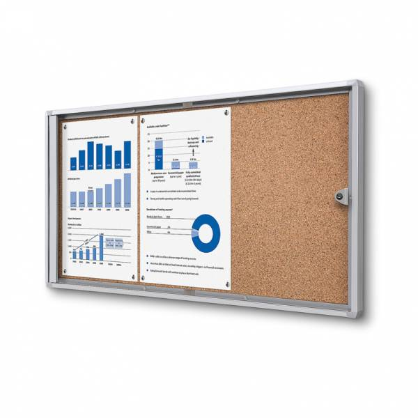 3xA4 Indoor Lockable Cork Noticeboard