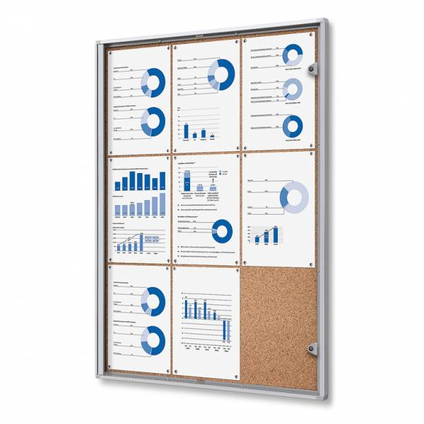 9xA4 Indoor Lockable Cork Noticeboard