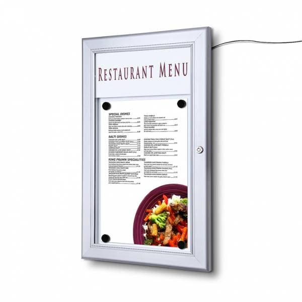 1xA4 LED Menu Display Case with Logo panel