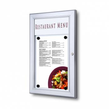 Menu Display Case with Logo panel Indoor Outdoor Silver anodised finish