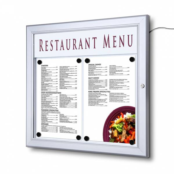 Menu Case - Lockable Illuminated LED  with Logo pane