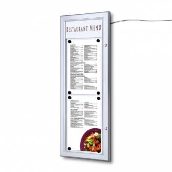 2xA4 Outdoor Wall Mounted Locable Menu Case 2 x A4 Top to Bottom LED