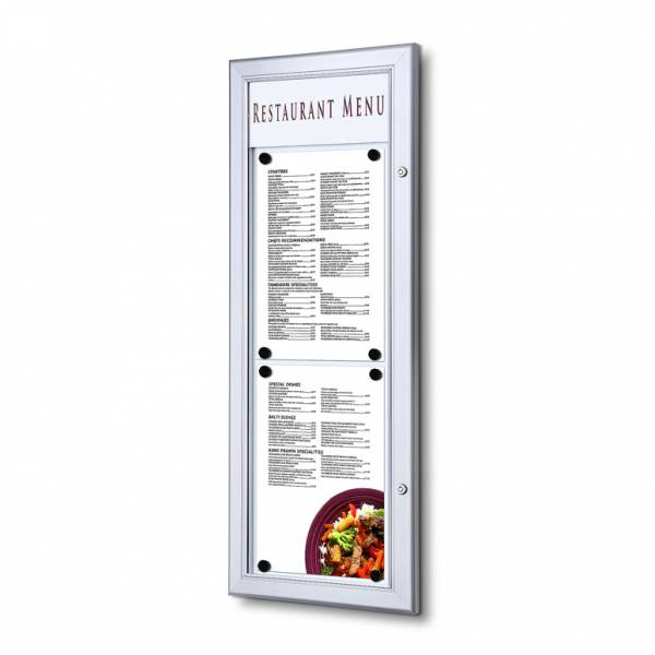 2xA4 Outdoor Wall Mounted Locable Menu Case 2 x A4 Top to Bottom