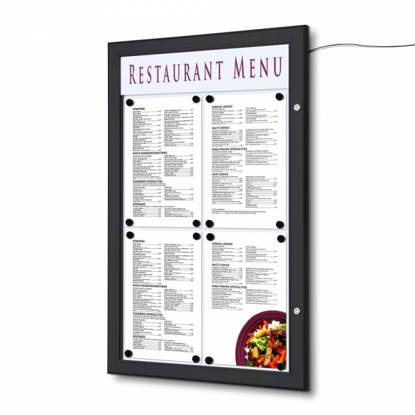 4xA4 Lockable LED Menu Case Logo Panel RAL 9005