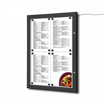 4xA4 LED Menu Display Case BLACK