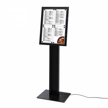 LED BLACK Freestanding 4xA4 Menu Display Case