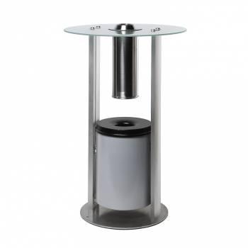 Smokers Wall Table with cylinder Ashtray and semi circular top