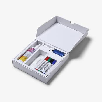 Whiteboard Kit with magnets, marker pens, eraser and cleaning fluid