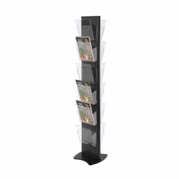 Brochure Stand TORRE, black - with 12 A4 Pockets